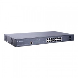 GV-APOE1611 Geovision 16 Port Gigabit + 2 Port SFP Uplink 300W Total Budget 802.3at Web Management PoE Switch